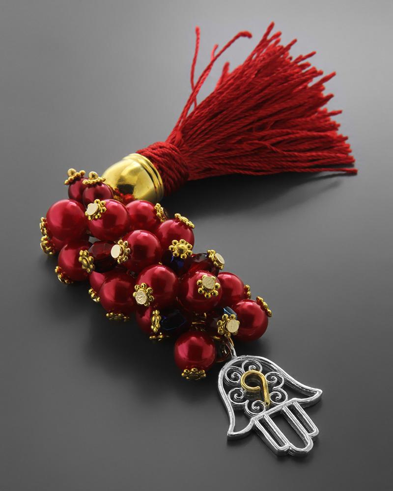 Εικόνα του προϊόντος Γούρι χέρι της τύχης 9 με κόκκινες πέρλες