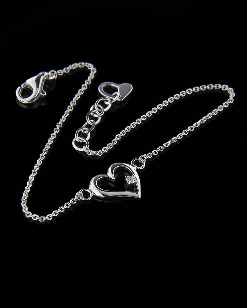 Βραχιόλι καρδιά λευκόχρυσο Κ18 με Διαμάντι   γυναικα βραχιόλια βραχιόλια λευκόχρυσα