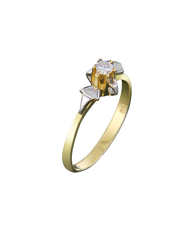 Μονόπετρο δαχτυλίδι χρυσό & λευκόχρυσο Κ18 με Διαμάντι
