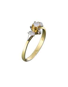 7007611e43cf Μονόπετρο δαχτυλίδι χρυσό   λευκόχρυσο Κ18 με Διαμάντι