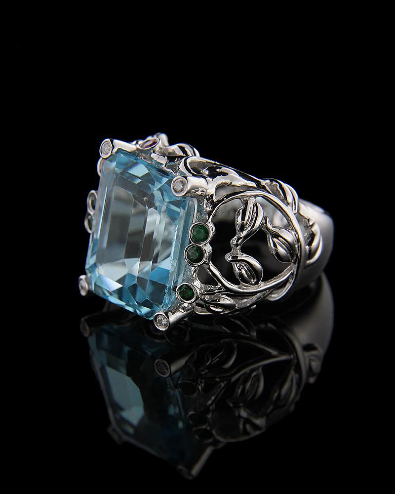 Δαχτυλίδι λευκόχρυσο Κ18 με Διαμάντια και Blue Topaz   νεεσ αφιξεισ κοσμήματα γυναικεία
