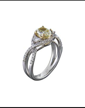 Δαχτυλίδι μονόπετρο λευκόχρυσο Κ18 με κίτρινο διαμάντι 37b117234d4
