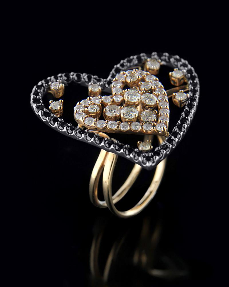 Δαχτυλίδι καρδιές χρυσό Κ18 με λευκά και μαύρα Διαμάντια