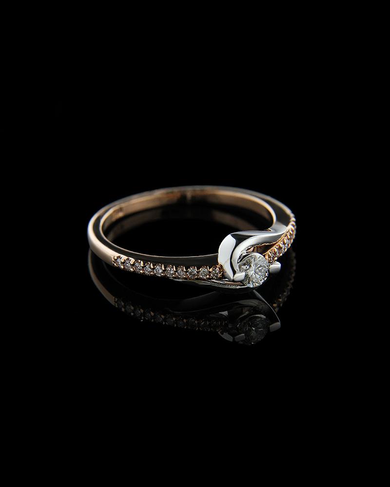 Δαχτυλίδι μονόπετρο ροζ χρυσό Κ18 με Διαμάντια   κοσμηματα δαχτυλίδια δαχτυλίδια ροζ χρυσό