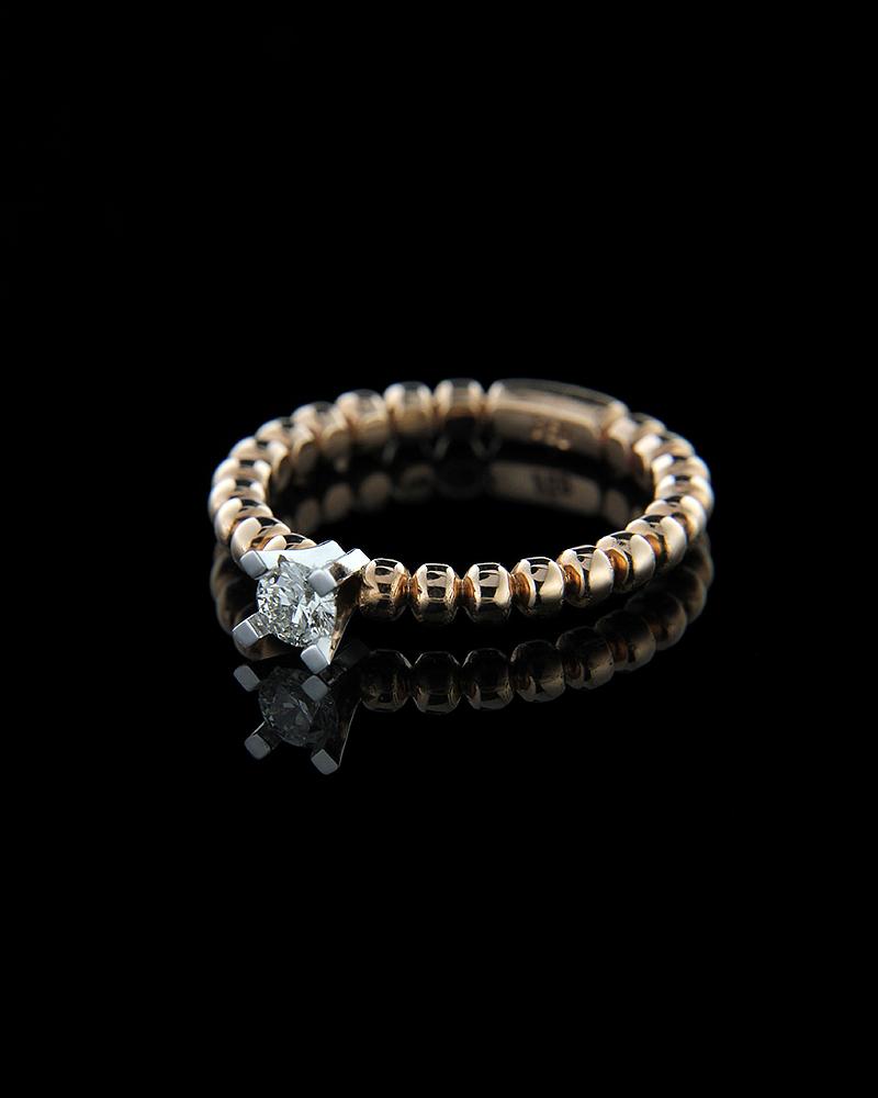 Δαχτυλίδι μονόπετρο ροζ χρυσό Κ18 με Διαμάντι   γυναικα δαχτυλίδια μονόπετρα με διαμάντια