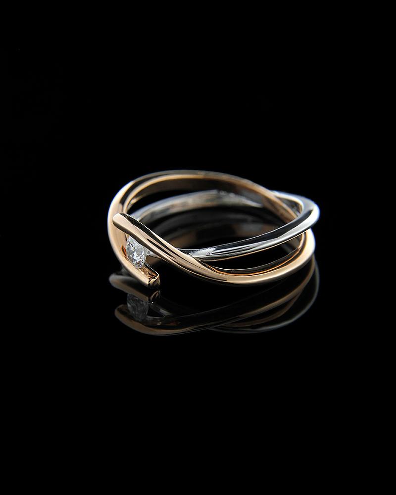 Δαχτυλίδι μονόπετρο λευκόχρυσο και ροζ χρυσό Κ18 με Διαμάντι   γυναικα δαχτυλίδια μονόπετρα με διαμάντια