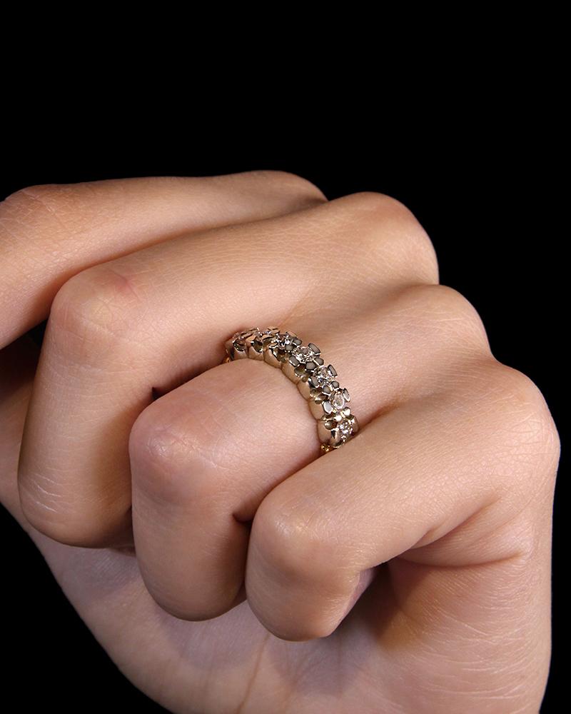 Δαχτυλίδι χρυσό και λευκόχρυσο Κ18 με Διαμάντια