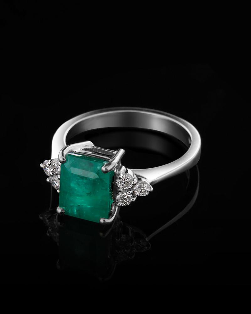 Δαχτυλίδι λευκόχρυσο Κ18 με Διαμάντια και Σμαράγδι   γαμοσ μονόπετρα μονοπετρα με διαμάντια