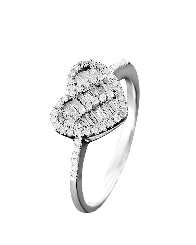 Δαχτυλίδι καρδιά λευκόχρυσο Κ18 με Διαμάντια