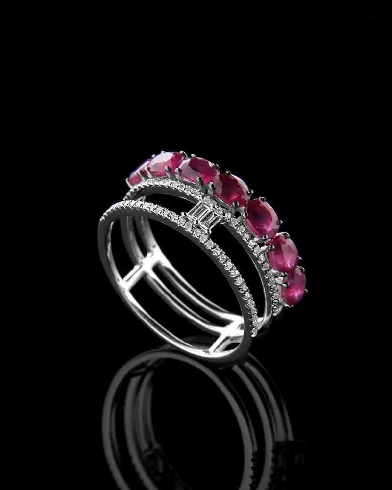 Δαχτυλίδι Με Διαμάντια και Ρουμπίνια Λευκόχρυσο RN0543333   κοσμηματα δαχτυλίδια δαχτυλίδια με διαμάντια