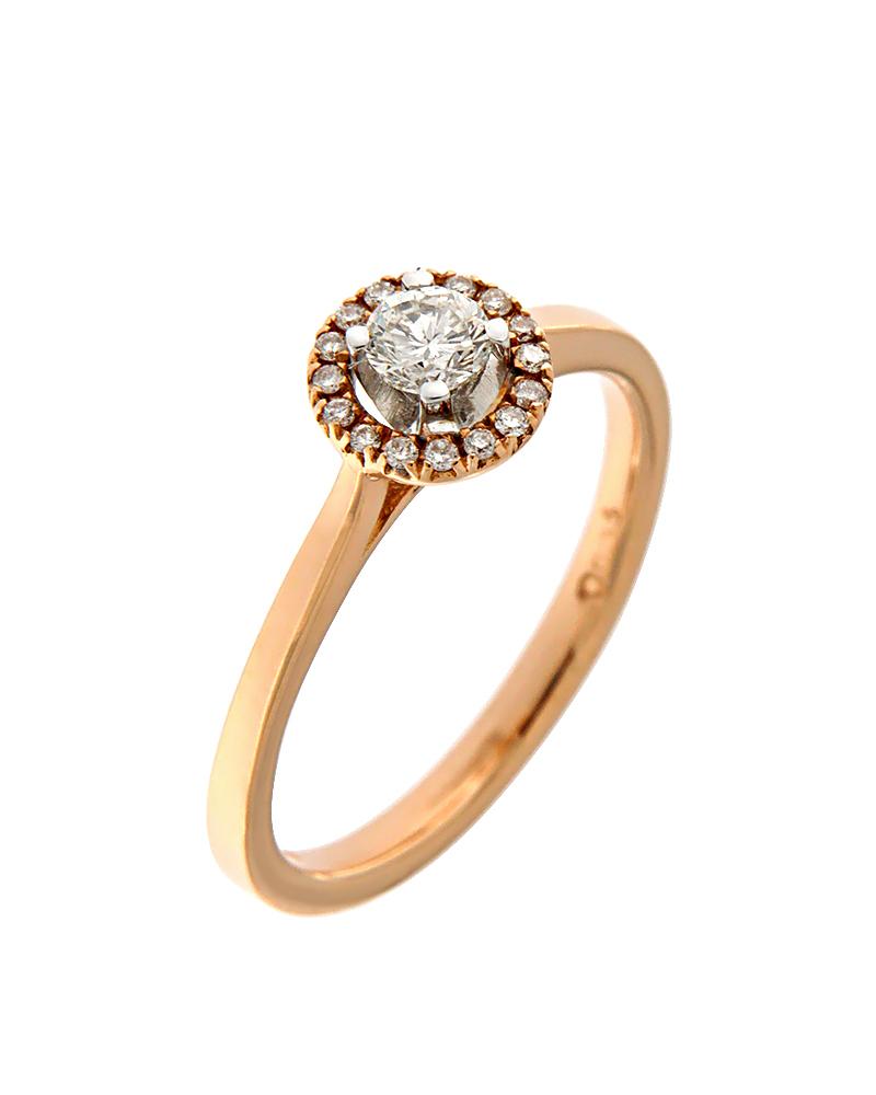Δαχτυλίδι μονόπετρο ροζ χρυσό Κ18 με Διαμάντια   γυναικα δαχτυλίδια δαχτυλίδια διαμάντια
