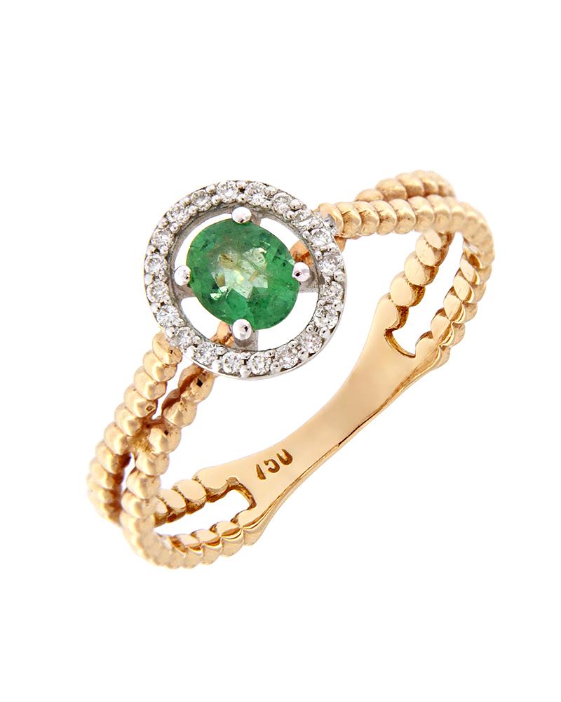 Δαχτυλίδι ροζ χρυσό Κ18 με Διαμάντια και Σμαράγδι   γυναικα δαχτυλίδια δαχτυλίδια διαμάντια