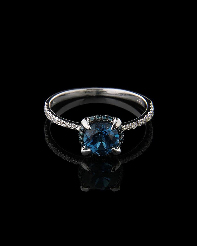 Δαχτυλίδι μονόπετρο λευκόχρυσο Κ18 με Διαμάντια και Τοπάζι   γυναικα δαχτυλίδια δαχτυλίδια διαμάντια