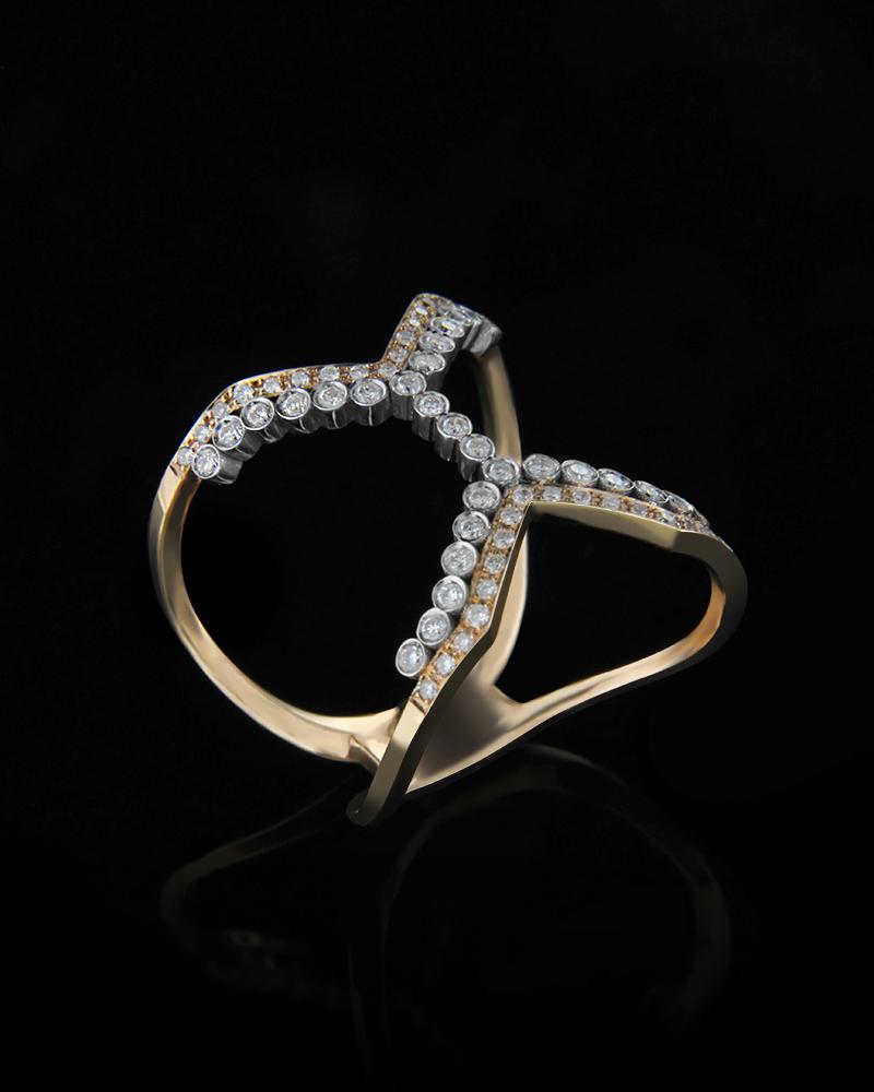 Δαχτυλίδι ροζ και λευκό χρυσό Κ18 με Διαμάντια   κοσμηματα δαχτυλίδια δαχτυλίδια με διαμάντια