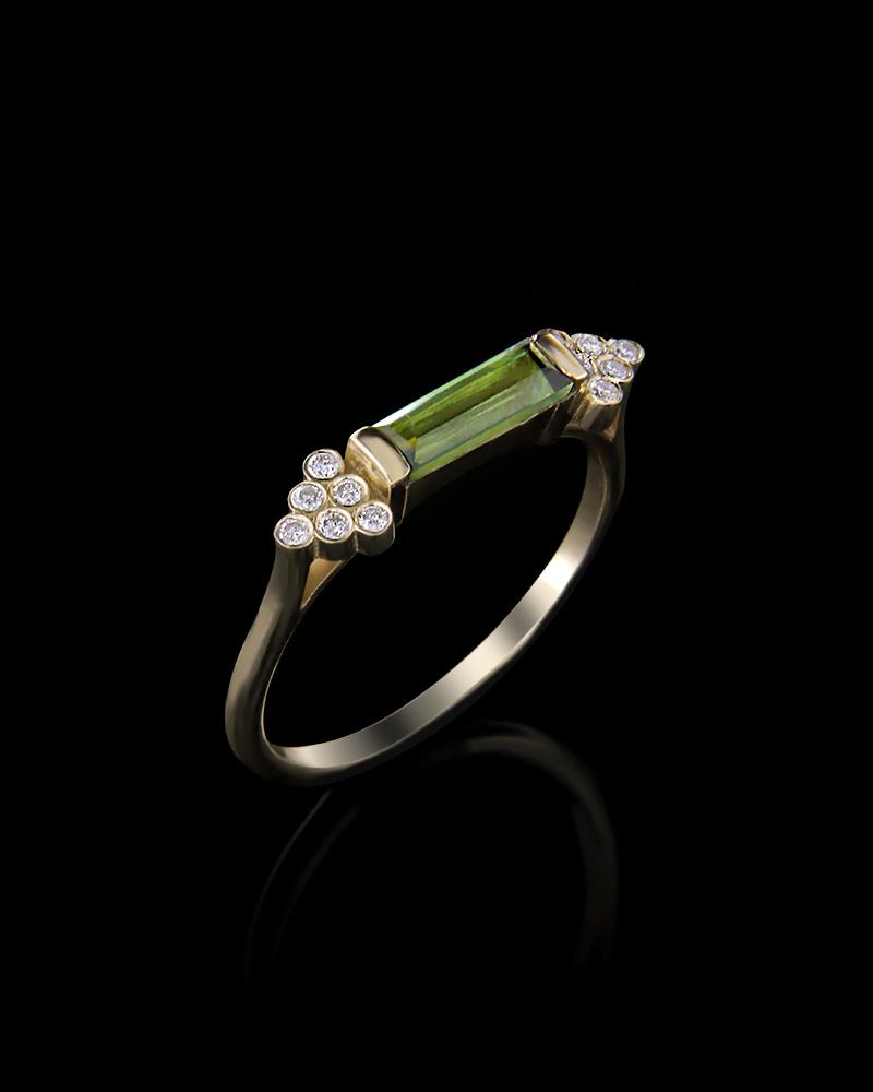 Δαχτυλίδι χρυσό Κ18 με Διαμάντια και Περιδοτίτη   κοσμηματα δαχτυλίδια δαχτυλίδια με διαμάντια