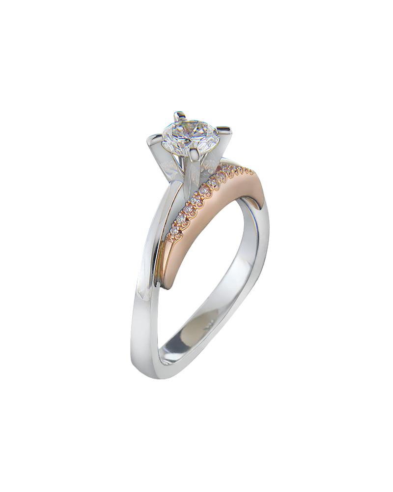 Δαχτυλίδι μονόπετρο λευκό & ροζ χρυσό Κ18 με διαμάντια   γυναικα δαχτυλίδια μονόπετρα με διαμάντια