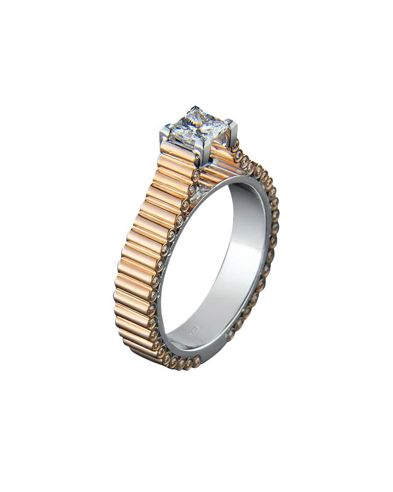 Δαχτυλίδι μονόπετρο ροζ & λευκό χρυσό Κ18 με διαμάντια   γυναικα δαχτυλίδια μονόπετρα με διαμάντια