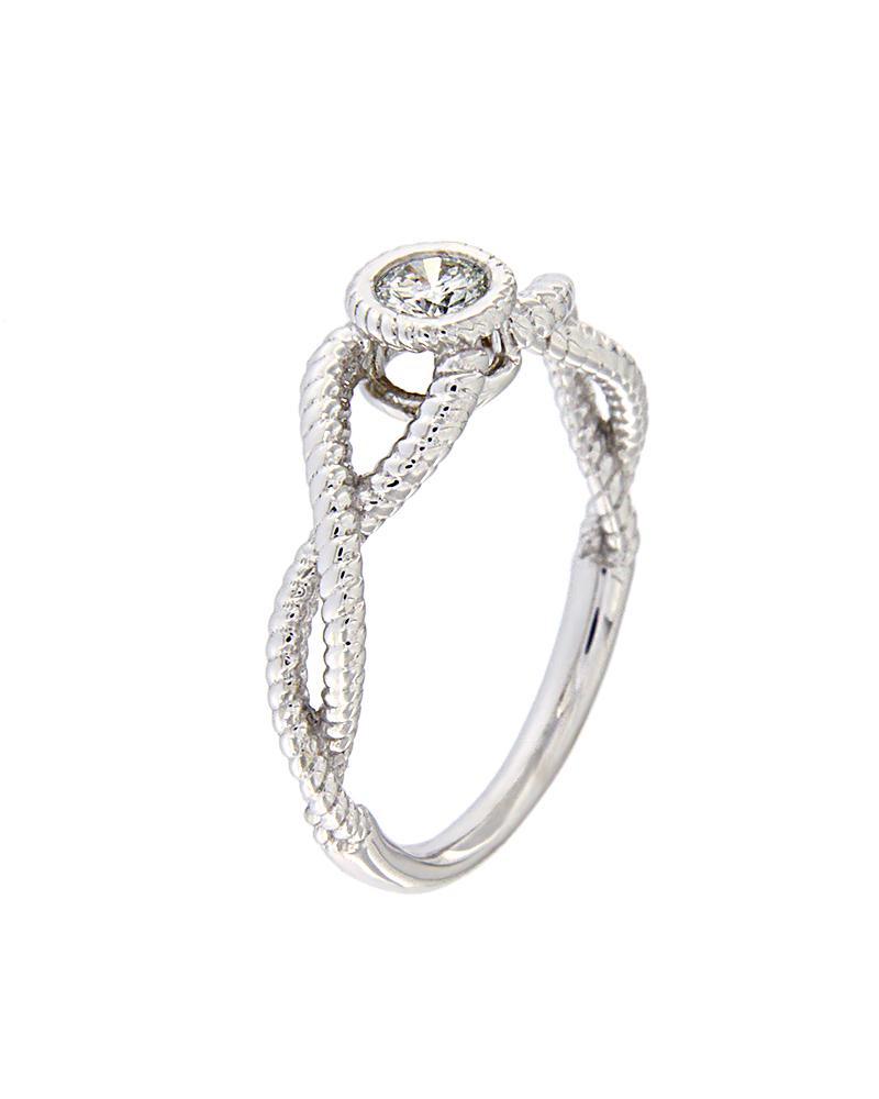 2becc4230ed9 Δαχτυλίδι μονόπετρο λευκόχρυσο Κ18 με Διαμάντι