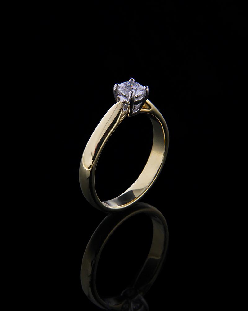 Δαχτυλίδι μονόπετρο χρυσό Κ18 με Διαμάντι   κοσμηματα δαχτυλίδια μονόπετρα με διαμάντια