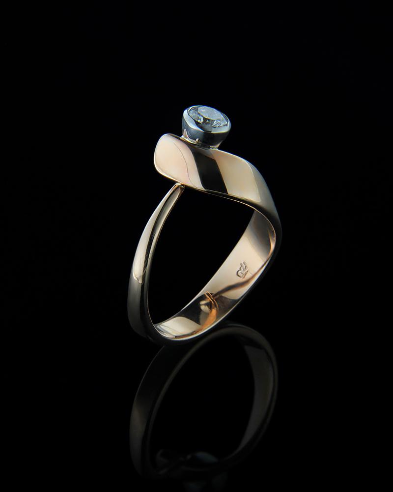 Δαχτυλίδι μονόπετρο ροζ χρυσό & λευκόχρυσο Κ18 με Διαμάντι   γυναικα δαχτυλίδια δαχτυλίδια ροζ χρυσό