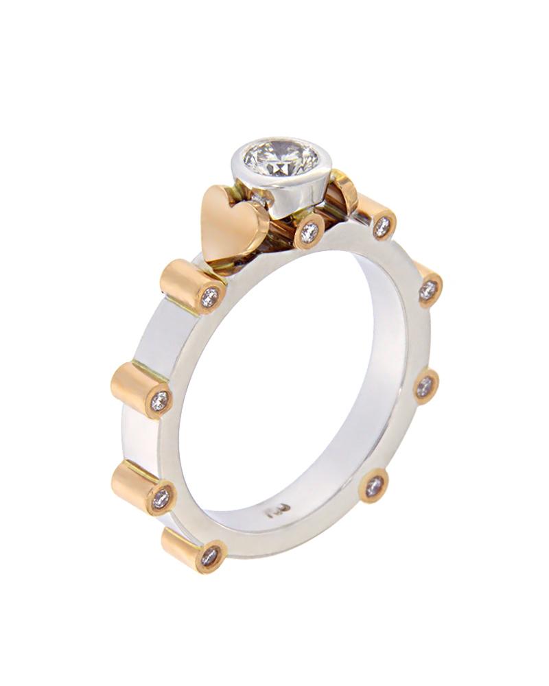 Δαχτυλίδι μονόπετρο λευκόχρυσο & ροζ χρυσό Κ18 με Διαμάντια   γυναικα δαχτυλίδια δαχτυλίδια λευκόχρυσα