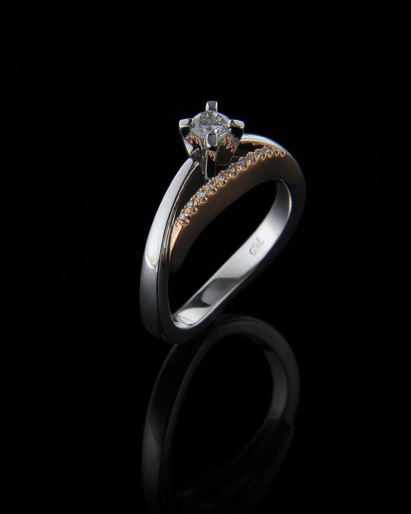 Δαχτυλίδι μονόπετρο λευκόχρυσο και ροζ χρυσό Κ18 με Διαμάντια   γυναικα δαχτυλίδια μονόπετρα με διαμάντια