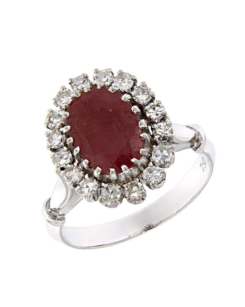 Δαχτυλίδι λευκόχρυσο Κ18 με Διαμάντια και Ρουμπίνι   γυναικα δαχτυλίδια δαχτυλίδια λευκόχρυσα