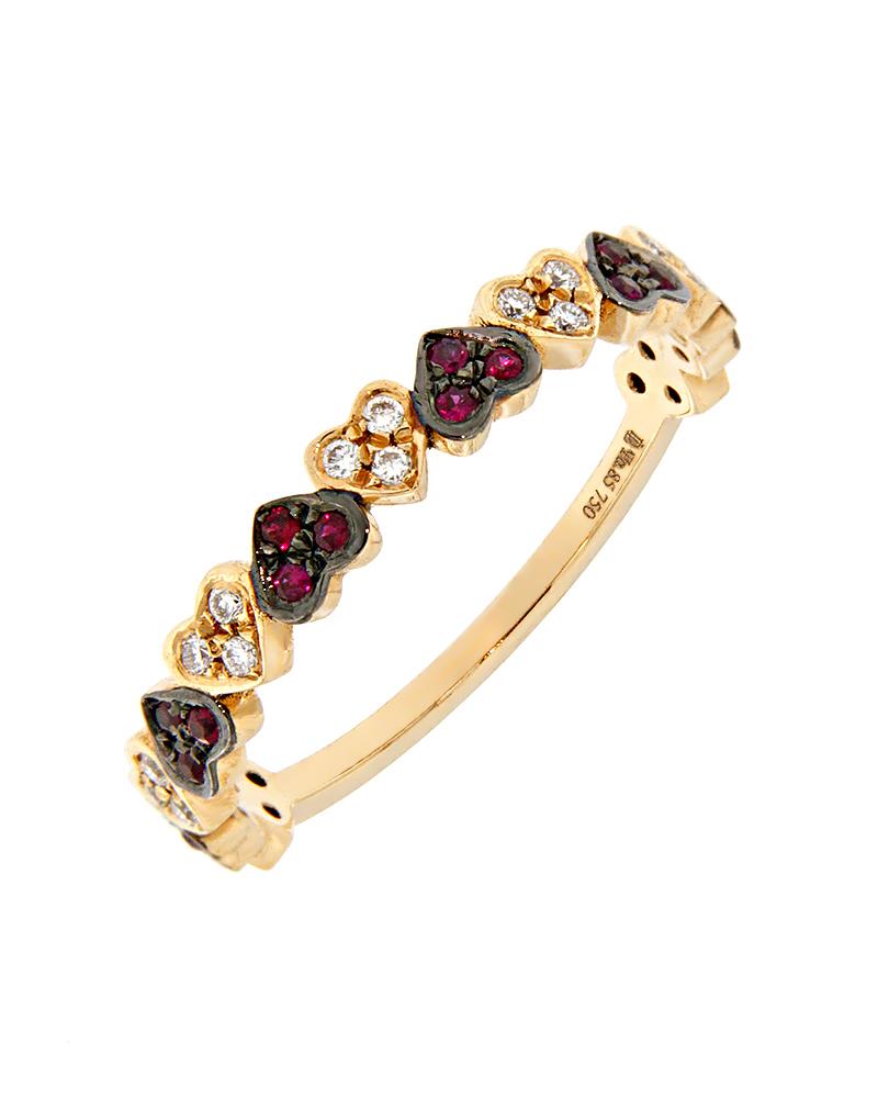 Δαχτυλίδι ροζ χρυσό Κ18 με Διαμάντια και Ρουμπίνια   γυναικα δαχτυλίδια δαχτυλίδια διαμάντια