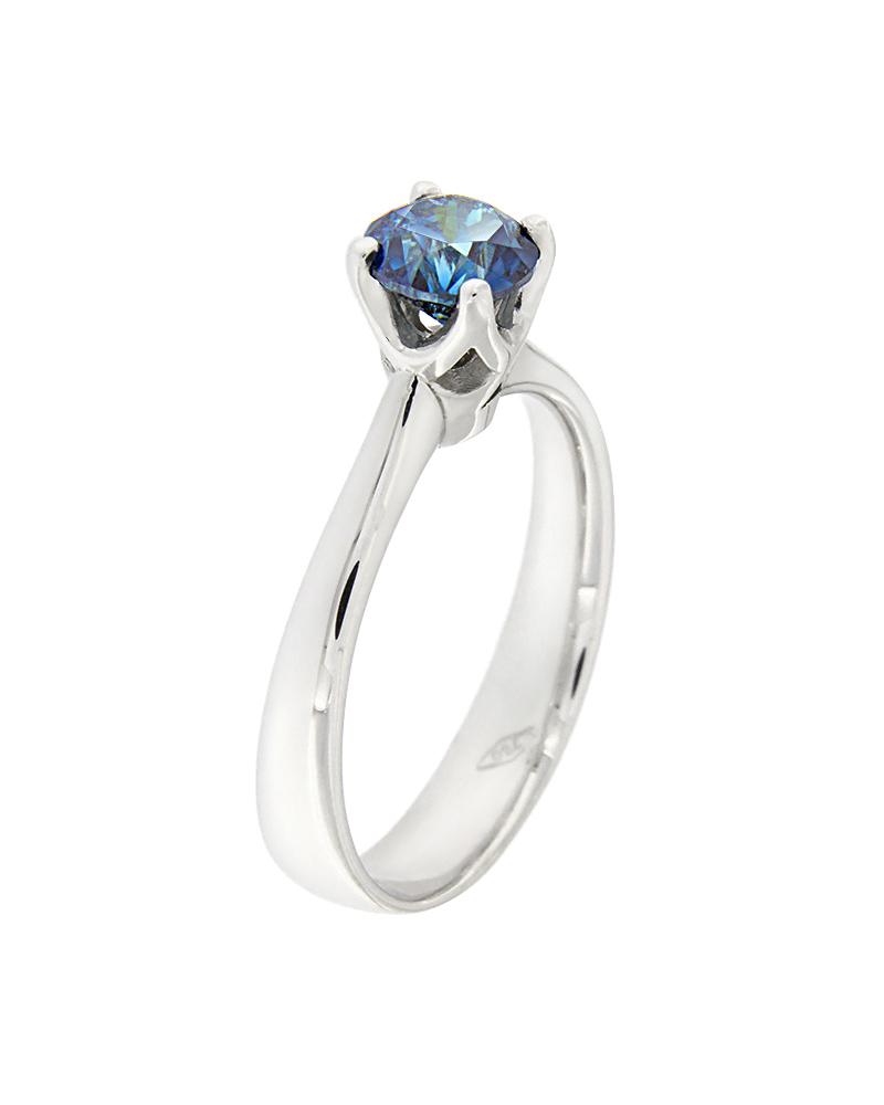Δαχτυλίδι μονόπετρο λευκόχρυσο Κ18 με μπλε Διαμάντι   νεεσ αφιξεισ κοσμήματα γυναικεία