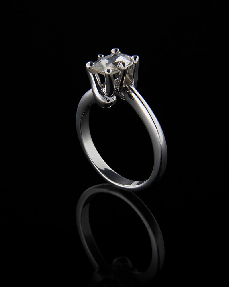 Δαχτυλίδι Με Διαμάντι Λευκόχρυσο Κ18