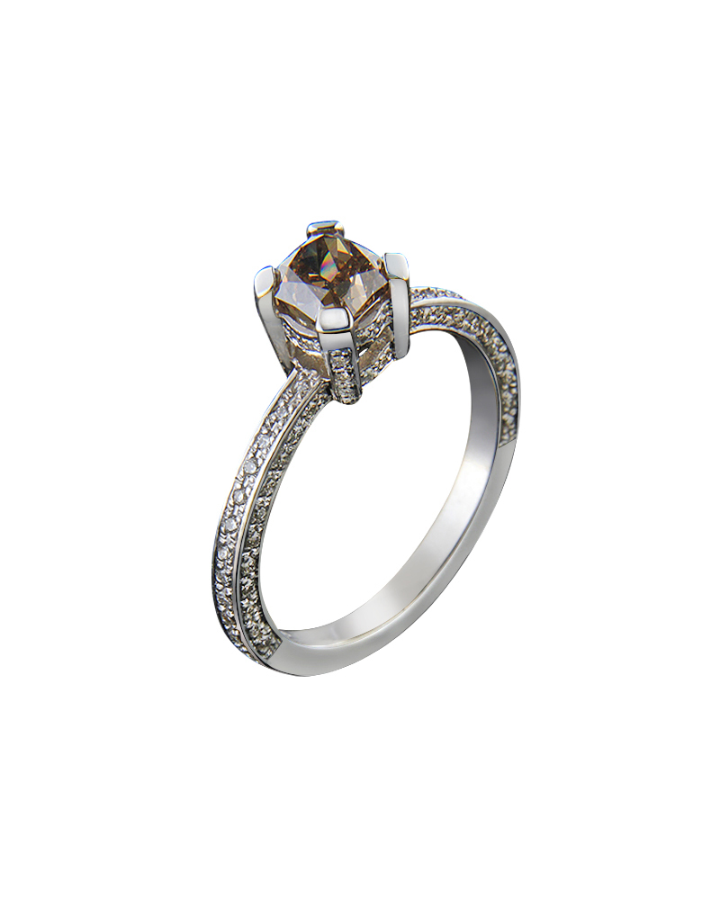 Δαχτυλίδι μονόπετρο λευκόχρυσο Κ18 με καφέ διαμάντι