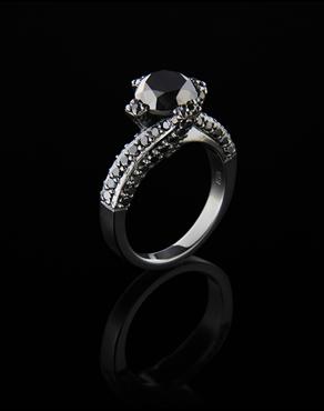 Δαχτυλίδι μονόπετρο λευκόχρυσο Κ18 με Διαμάντια black 6521933932d