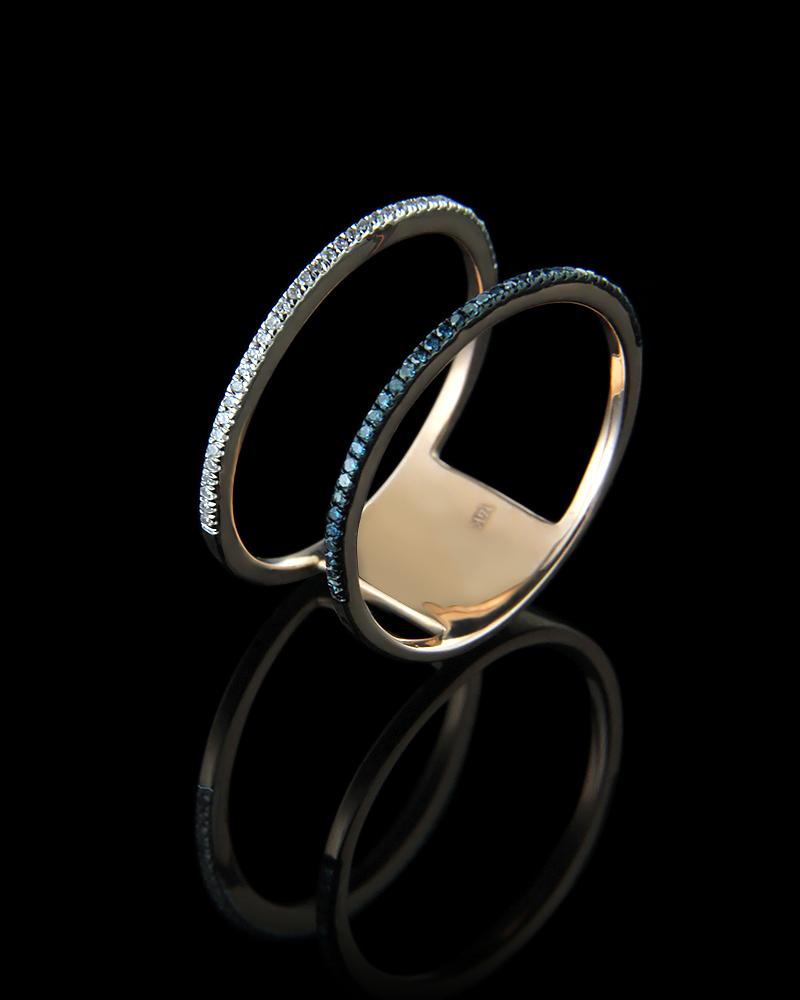 Δαχτυλίδι σειρέ διπλό ροζ χρυσό Κ14 με Διαμάντια   γυναικα δαχτυλίδια δαχτυλίδια ροζ χρυσό
