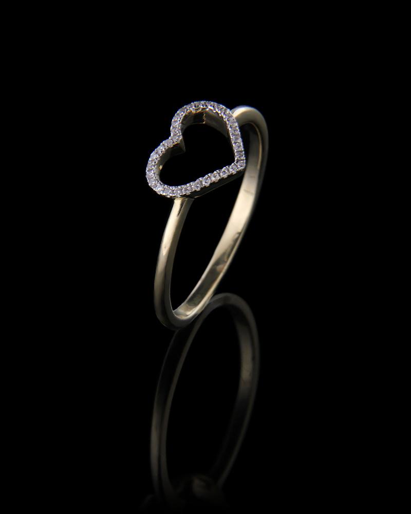 Δαχτυλίδι καρδιά χρυσό Κ14 με Διαμάντια