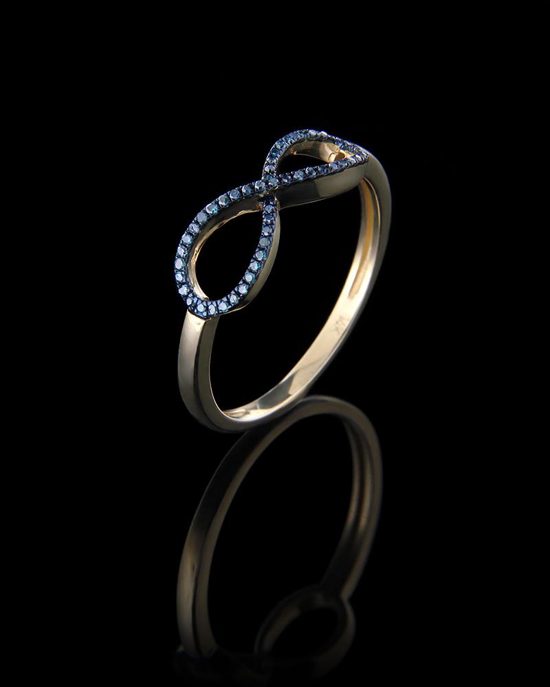 Δαχτυλίδι χρυσό Κ14 με μπλε Διαμάντια   γυναικα δαχτυλίδια δαχτυλίδια χρυσά
