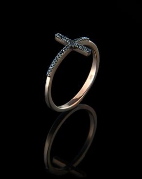 Δαχτυλίδι ροζ χρυσό Κ14 με μαύρα Διαμάντια 9406baf8182