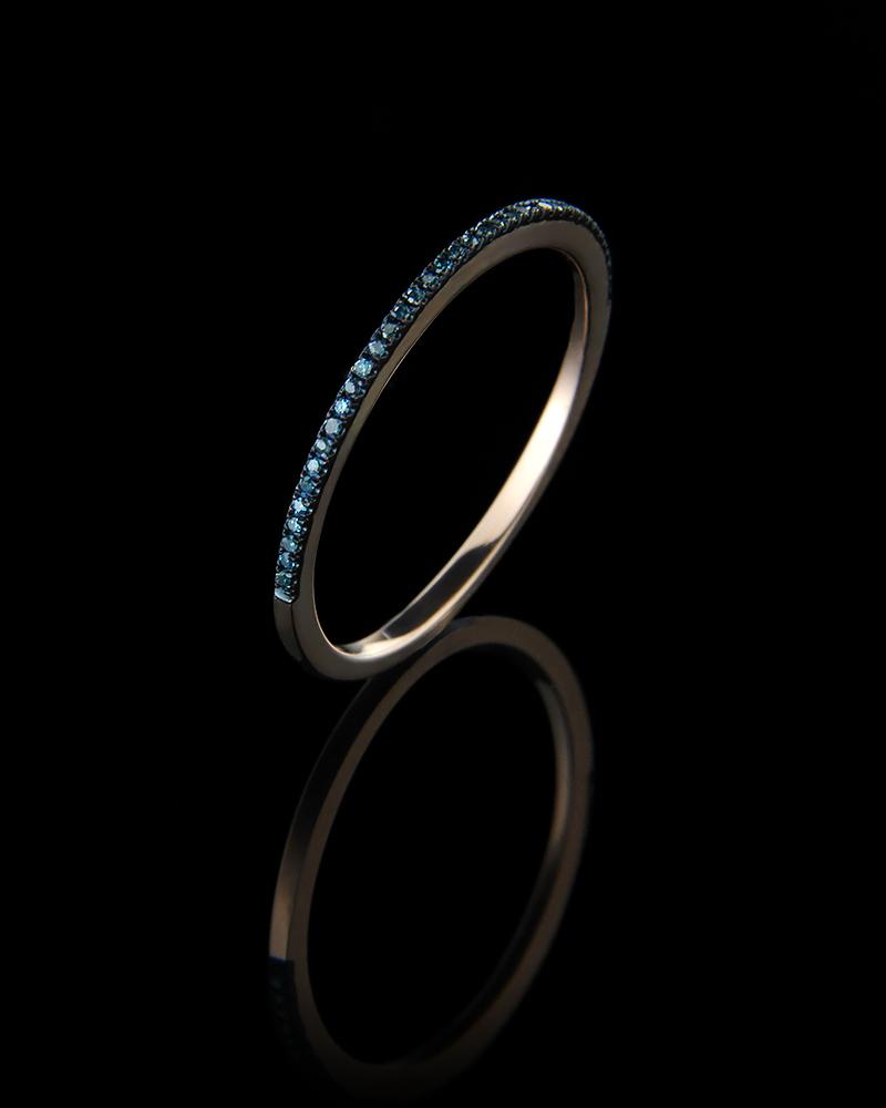 Δαχτυλίδι σειρέ ροζ χρυσό Κ14 με μπλε Διαμάντια   γυναικα δαχτυλίδια δαχτυλίδια διαμάντια