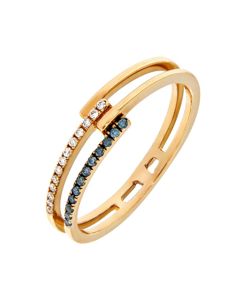 Δαχτυλίδι σειρέ ροζ χρυσό Κ18 με Διαμάντια