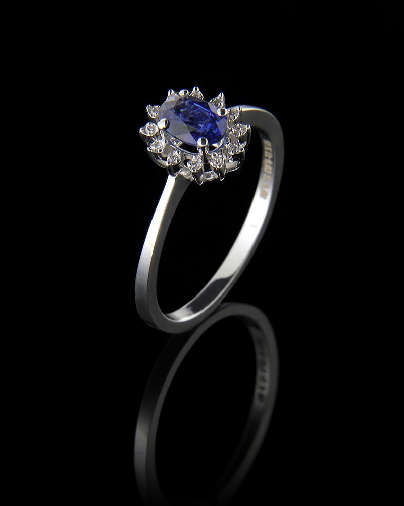 Δαχτυλίδι λευκόχρυσο Κ18 με Διαμάντια και Ζαφείρι   γυναικα δαχτυλίδια δαχτυλίδια διαμάντια
