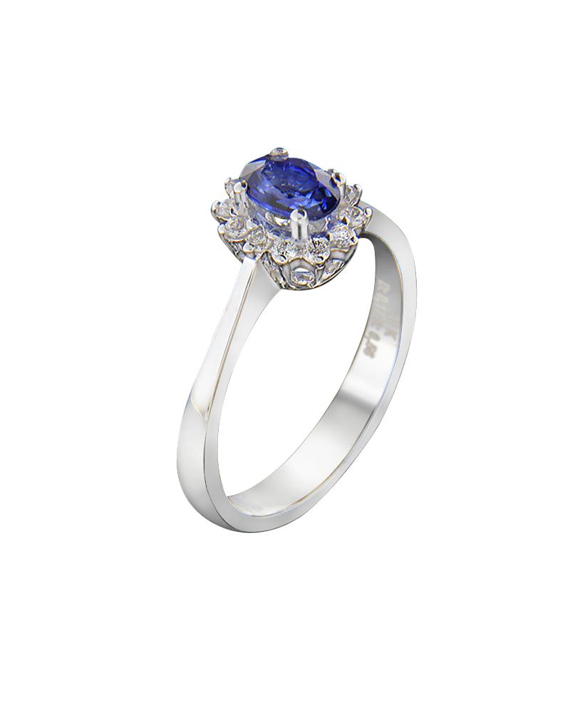 Δαχτυλίδι Λευκόχρυσο Κ18 Με Διαμάντια κ Ζαφείρι   γυναικα δαχτυλίδια μονόπετρα με διαμάντια