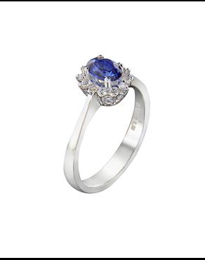 Δαχτυλίδι Λευκόχρυσο Κ18 Με Διαμάντια κ Ζαφείρι 80aed780816