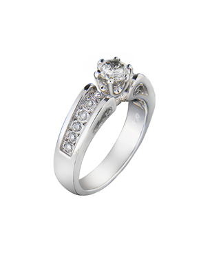f77a77cdce9d Δαχτυλίδι μονόπετρο λευκόχρυσο Κ18 με Διαμάντια