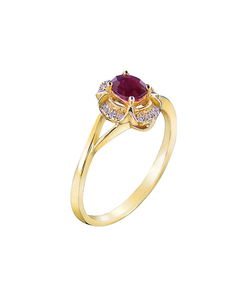 Δαχτυλίδι Κίτρινο Χρυσό Κ18 Με Διαμάντια και Ρουμπίνια   νεεσ αφιξεισ κοσμήματα γυναικεία