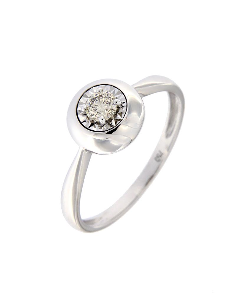 Δαχτυλίδι μονόπετρο λευκόχρυσο Κ18 με Διαμάντι
