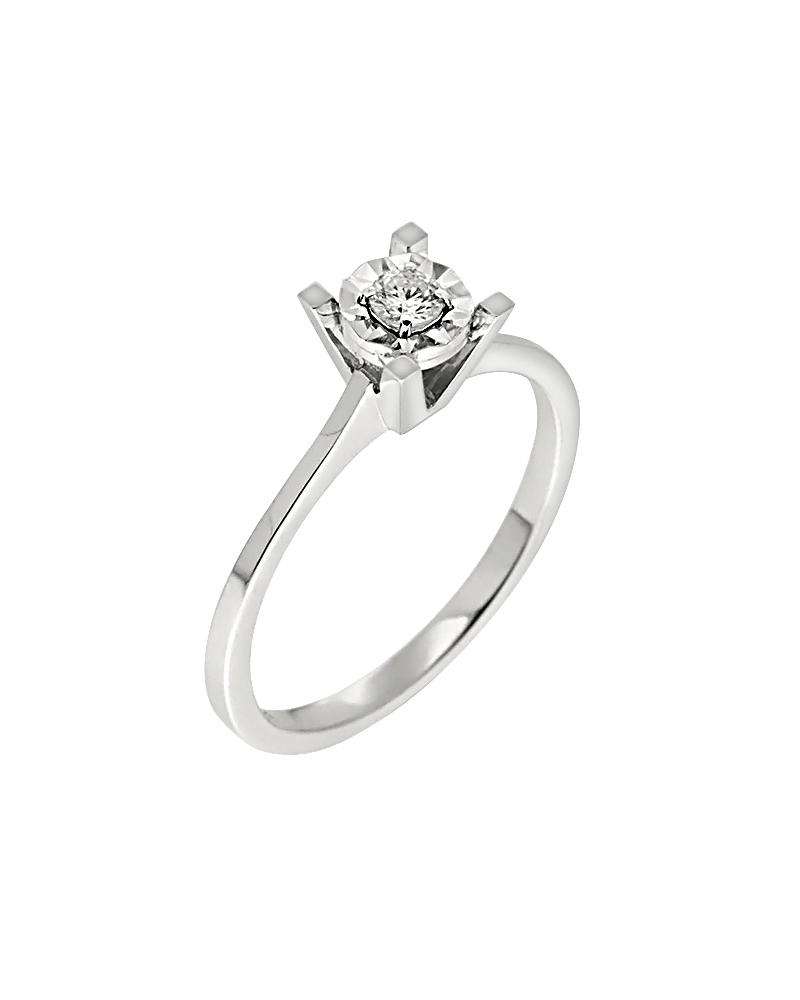 Δαχτυλίδι μονόπετρο λευκόχρυσο Κ14 με Διαμάντι