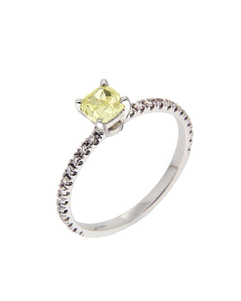 Δαχτυλίδι μονόπετρο λευκόχρυσο Κ18 με Διαμάντια