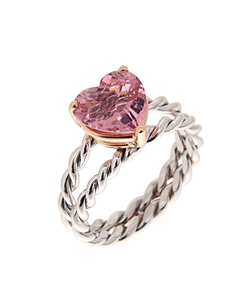 Δαχτυλίδι καρδιά λευκόχρυσο Κ18 με Διαμάντι
