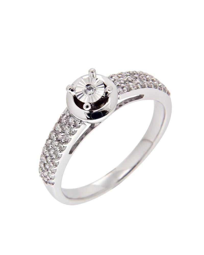 Δαχτυλίδι μονόπετρο λευκόχρυσο Κ14 με Διαμάντια