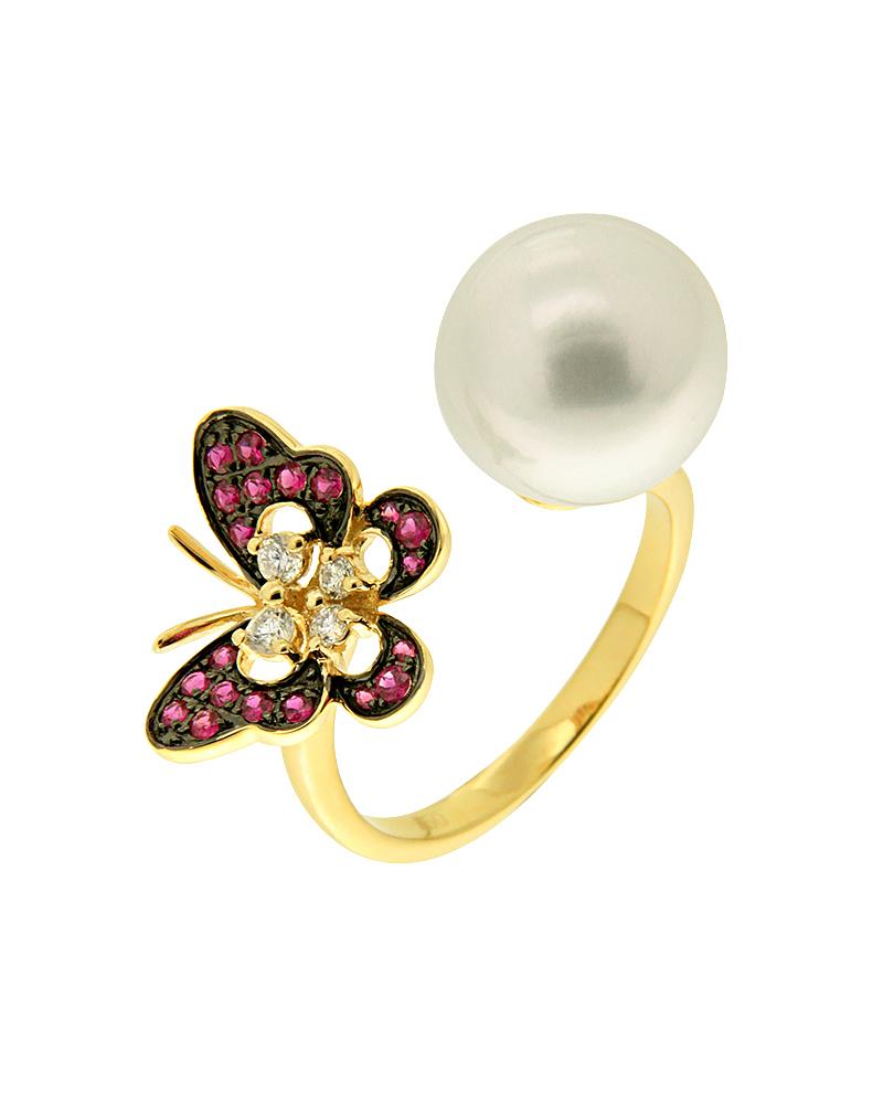 Δαχτυλίδι χρυσό Κ18 με Διαμάντια Ρουμπίνια και Μαργαριτάρι   κοσμηματα δαχτυλίδια δαχτυλίδια μαργαριτάρια