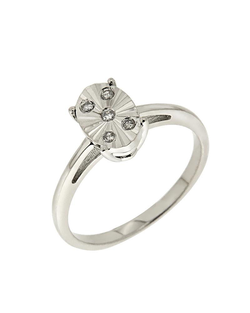 Δαχτυλίδι λευκόχρυσο Κ14 με Διαμάντια